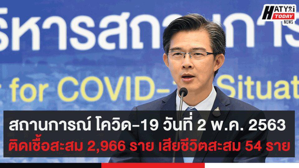 สถานการณ์ โควิด-19 วันที่ 2 พ.ค. 2563 ติดเชื้อสะสม 2,966 ราย เสียชีวิตสะสม 54 ราย