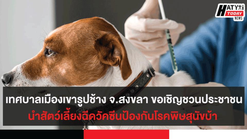 เทศบาลเมืองเขารูปช้าง จ.สงขลา ขอเชิญชวนประชาชนนำสัตว์เลี้ยงฉีดวัคซีนป้องกันโรคพิษสุนัขบ้า