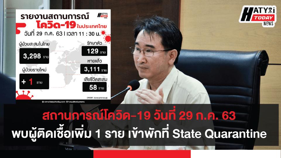 สถานการณ์โควิด-19 วันที่ 29 กรกฎาคม 2563 พบผู้ติดเชื้อเพิ่ม 9 ราย เป็นผู้ที่เข้าพักที่ State Quarantine