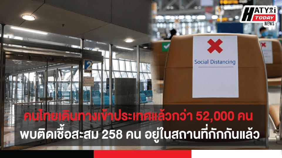 คนไทยเดินทางกลับเข้าประเทศแล้วกว่า 52,000 คน พบติดเชื้อสะสม 258 คน วอนประชาชนใช้แอปพลิเคชันไทยชนะอย่างต่อเนื่อง