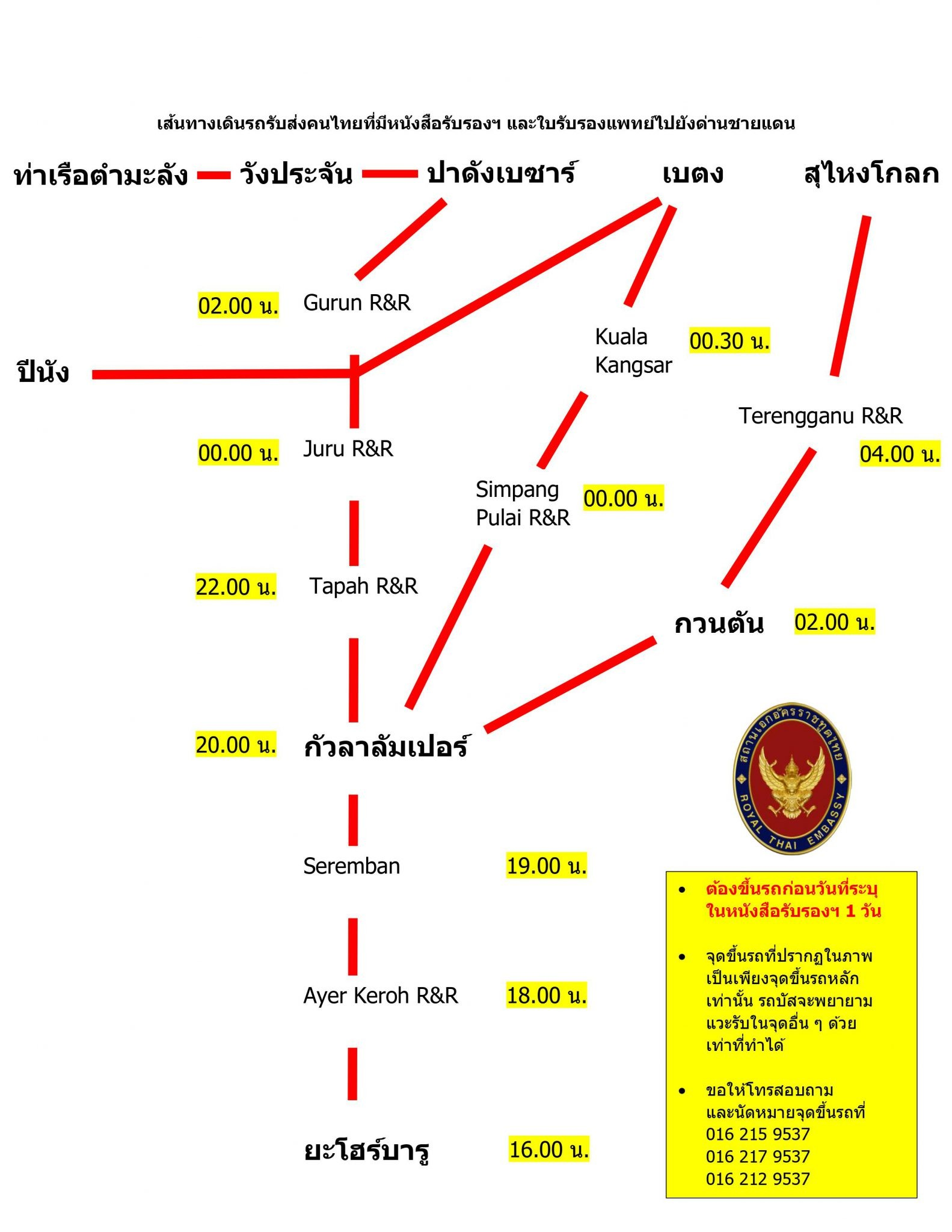 สถานเอกอัครราชทูตฯ จะยุติการให้บริการรถบัสกลับไทยด่านพรมแดนตั้งแต่วันที่ 13 ส.ค. เป็นต้นไป