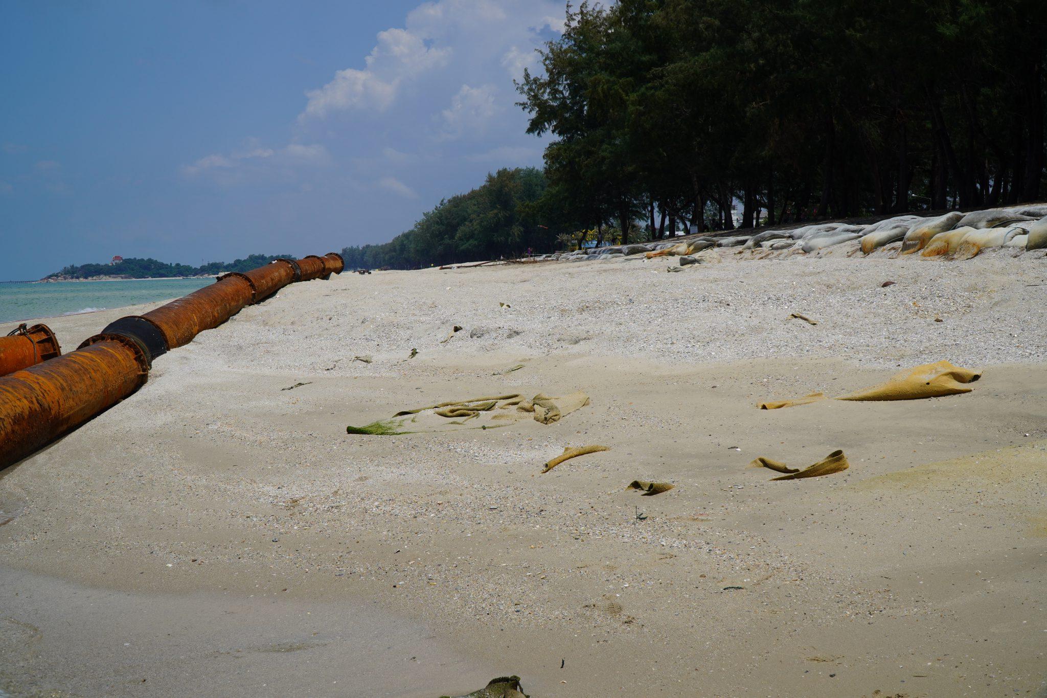 หาดสมิหลา-หาดชลาทัศน์ จ.สงขลา เติมทรายอีกครั้งป้องกันการกัดเซาะชายฝั่ง