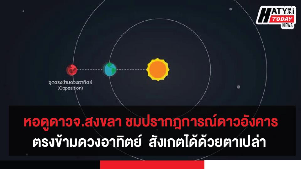 หอดูดาวจังหวัดสงขลา เชิญชมปรากฎการณ์ดาวเคราะห์แดง ดาวอังคารอยู่ตำแหน่งตรงข้ามดวงอาทิตย์  สังเกตได้ด้วยตาเปล่า คืนวันที่ 14 ต.ค. 63