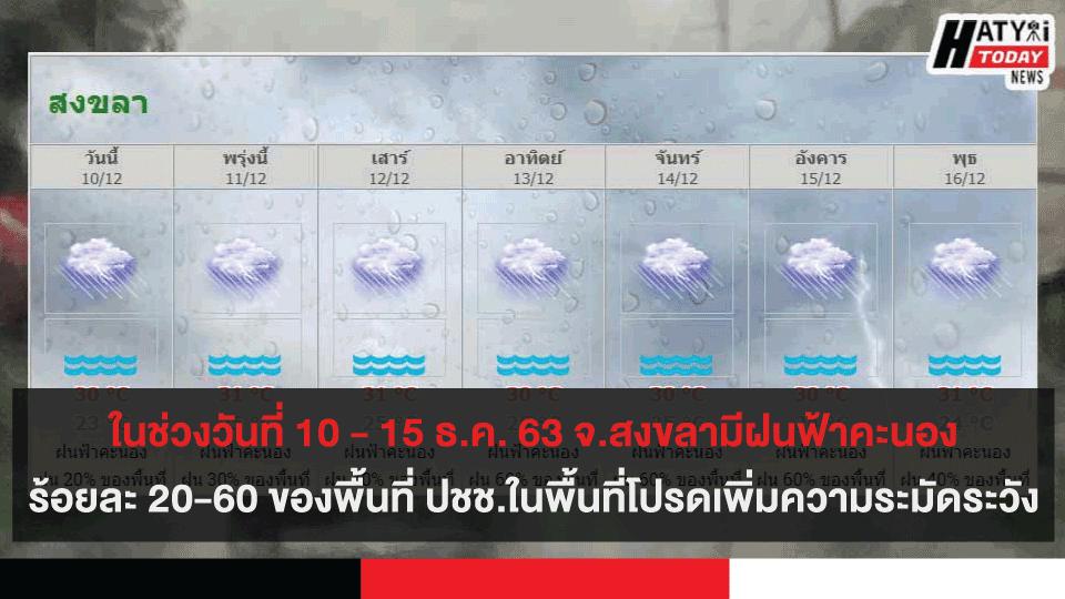 ในช่วงวันที่ 10 – 15 ธ.ค. 63 จ.สงขลามีฝนฟ้าคะนองร้อยละ 20-60 ของพื้นที่ ปชช.ในพื้นที่โปรดระมัดระวัง