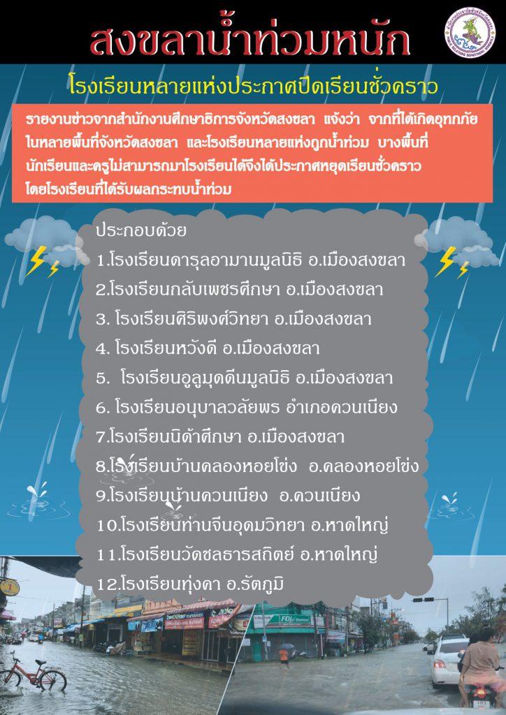 สงขลาน้ำท่วมหนักหลายแห่งประกาศปิดเรียนชั่วคราวงดการเรียนการสอน ตั้งแต่ 1 - 3 ธันวาคม 2563