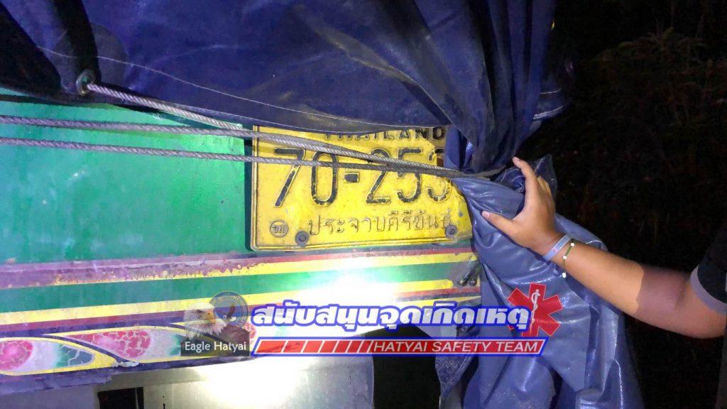 สลดใจ รถจักยานยนต์ชนท้ายส่วนพ่วงไม่มีหัวลากจอดทิ้งไว้ข้างทาง พบผู้เสียชีวิต 1 ราย บนถนนสายเอเชีย