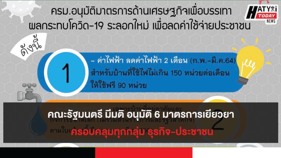 คณะรัฐมนตรี มีมติ อนุมัติ 6 มาตรการเยียวยา ครอบคลุมทุกกลุ่ม ธุรกิจ-ประชาชน