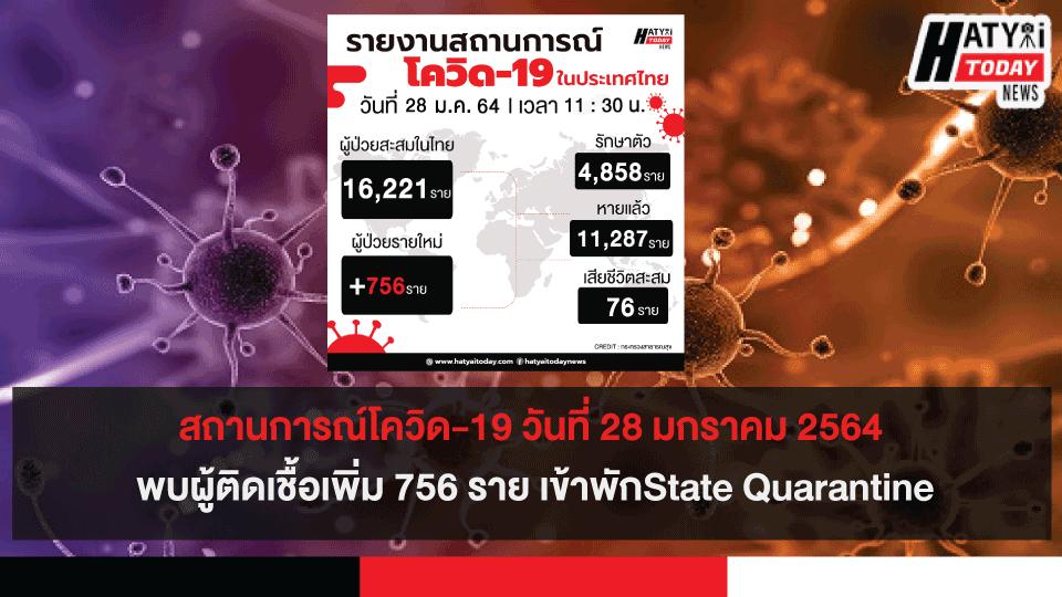 สถานการณ์โควิด-19 วันที่ 28 มกราคม 2564 พบผู้ติดเชื้อเพิ่ม 756 ราย เข้าพักState Quarantine