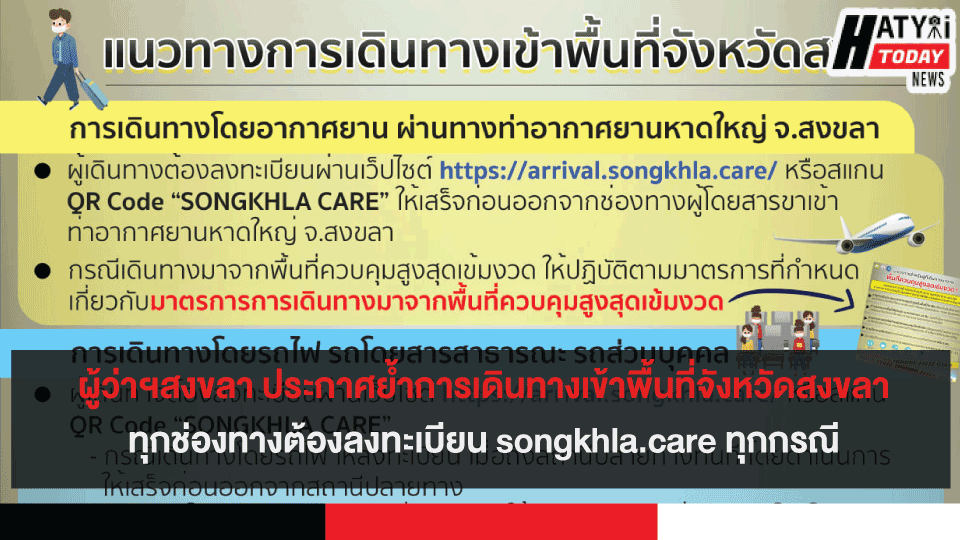 ผู้ว่าฯสงขลา ประกาศย้ำการเดินทางเข้าพื้นที่จังหวัดสงขลาทุกช่องทาง ต้องลงทะเบียน songkhla.care ทุกกรณี