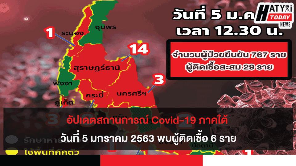 อัปเดตสถานการณ์ Covid-19 ภาคใต้ 5 มกราคม 2563